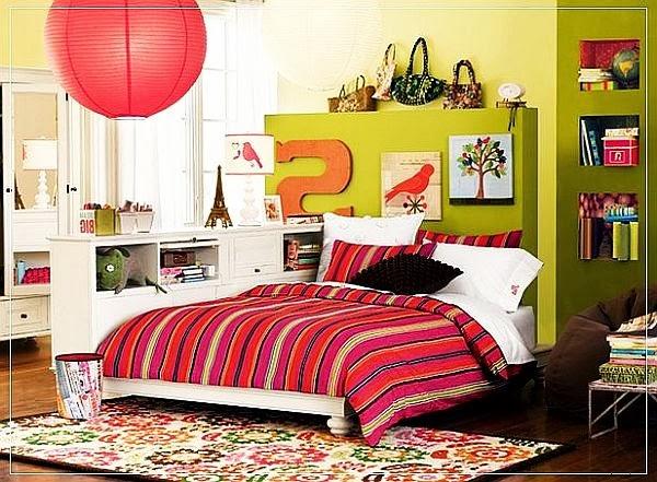 dormitorio juvenil verde rosa
