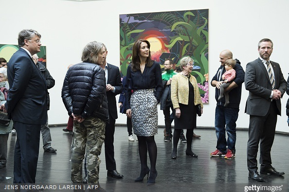 Crown Princess Mary of Denmark and Danish Minister of Culture Marianne Jelved attended the opening of a double anniversary exhibition marking the Artist Association Groenningen 100th anniversary