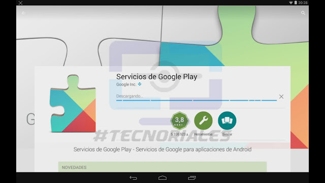 Google Play Services descargandose en Play Store