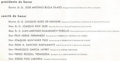 Presidencia y comité de honor del IX Campeonato de España Femenino 1965