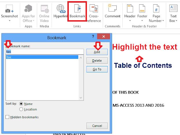 screenshot of bookmark dialogue box