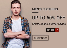 Spyker Men's Clothing – Flat 50% to 60% Off @ Amazon