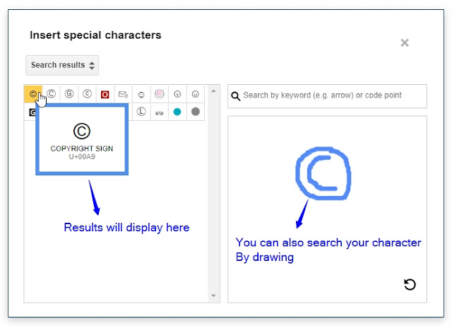 Add special characters by drawing them