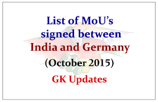 List of MoU's and Agreements signed between India and Germany (October 2015)