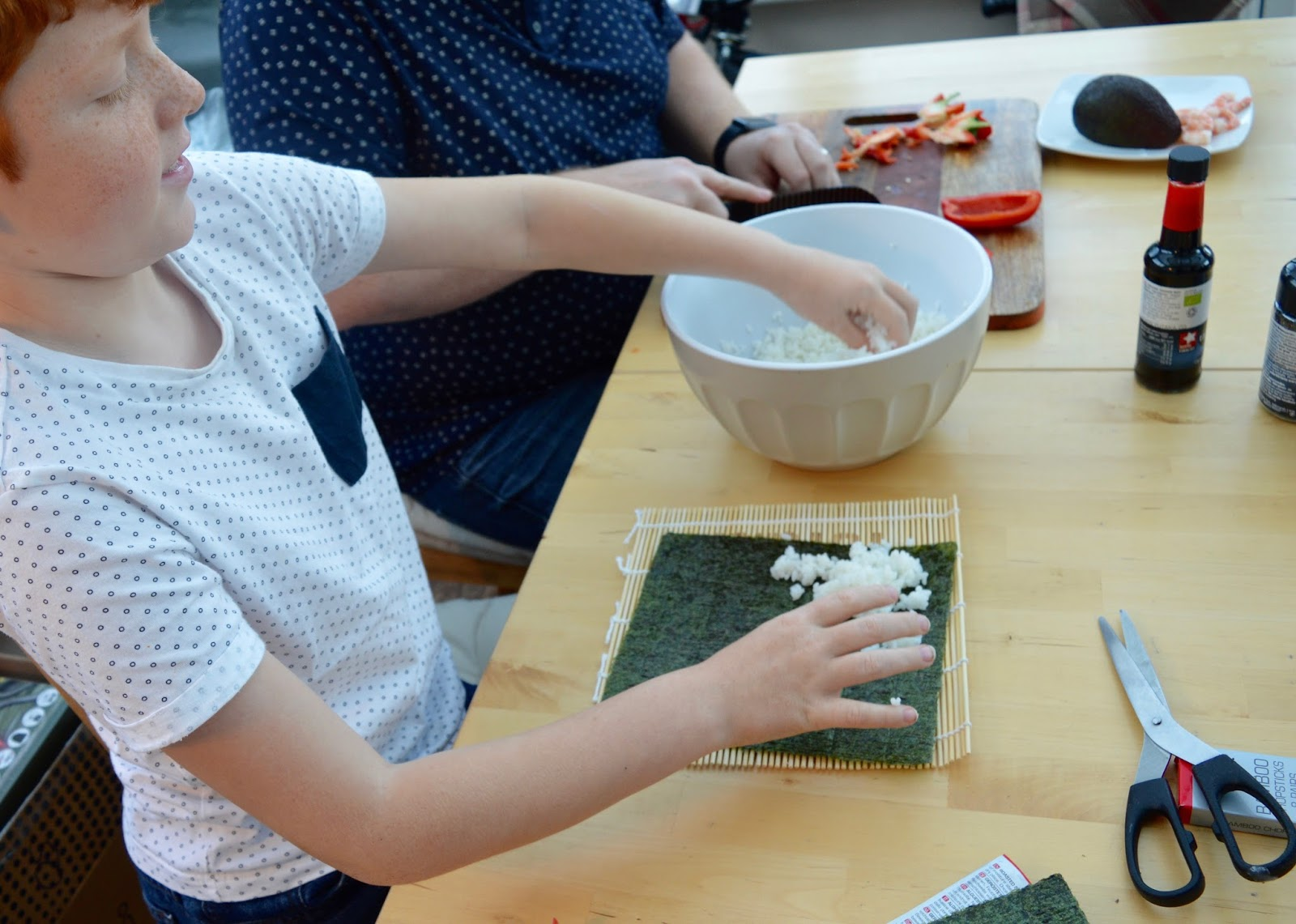 Sushi Making With Kids - A Tutorial for Beginners with Yutaka - using the rolling mat