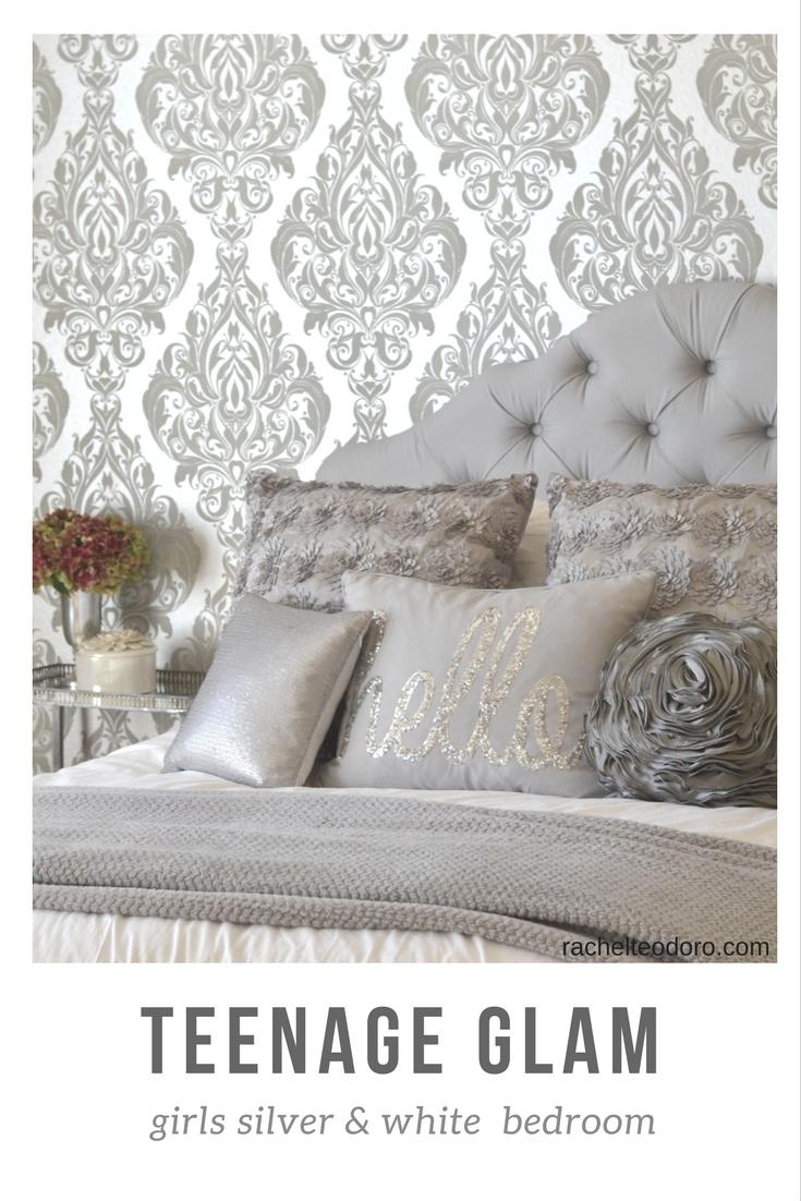 Glam Silver and White Teen Girl Bedroom Makeover - Rachel Teodoro