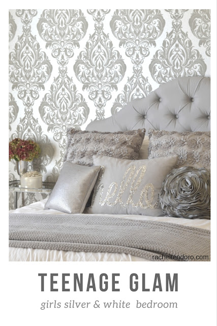 silver and white, teen girl bedroom, patterned wallpaper, upholstered headboard