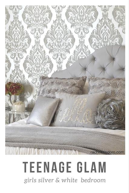 silver and white, teen girl bedroom, patterned wallpaper, upholstered headboard