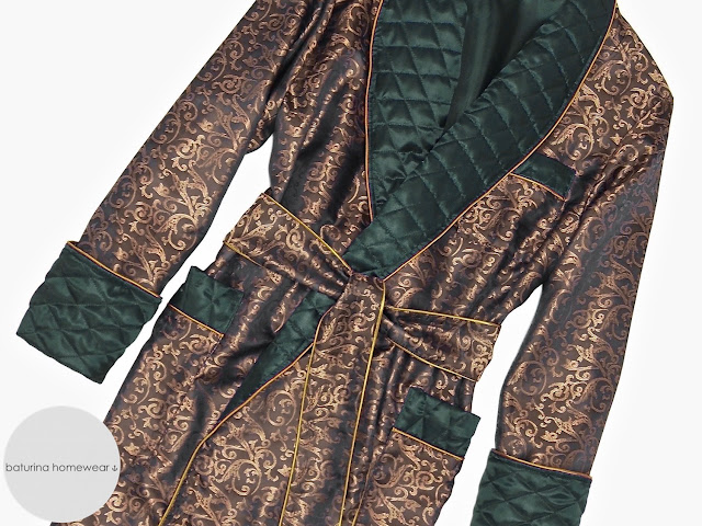 mens dark green silk dressing gown gold paisley smoking jacket robe quilted