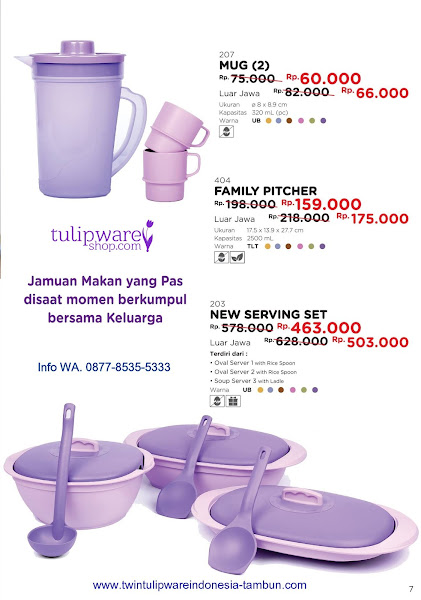 Promo Diskon Tulipware Mei 2018, Mug, Family Pitcher, New Serving Set