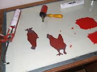 Inked hen linocuts