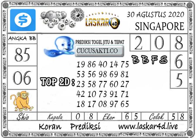 Prediksi Togel SINGAPORE LASKAR4D 30 AGUSTUS 2020