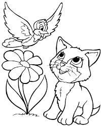 Adorabe Kitty And Bird On Garden Coloring Pages