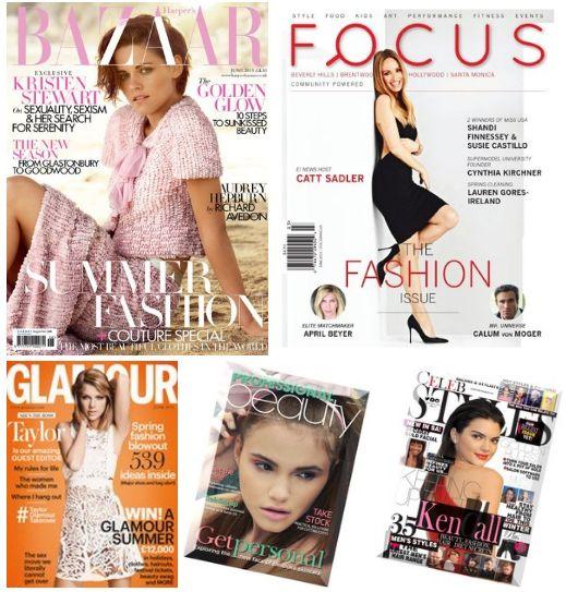 Harper's Bazaar UK Magazine,  Focus Magazine , Glamour UK , Professional Beauty ,Celeb Styles