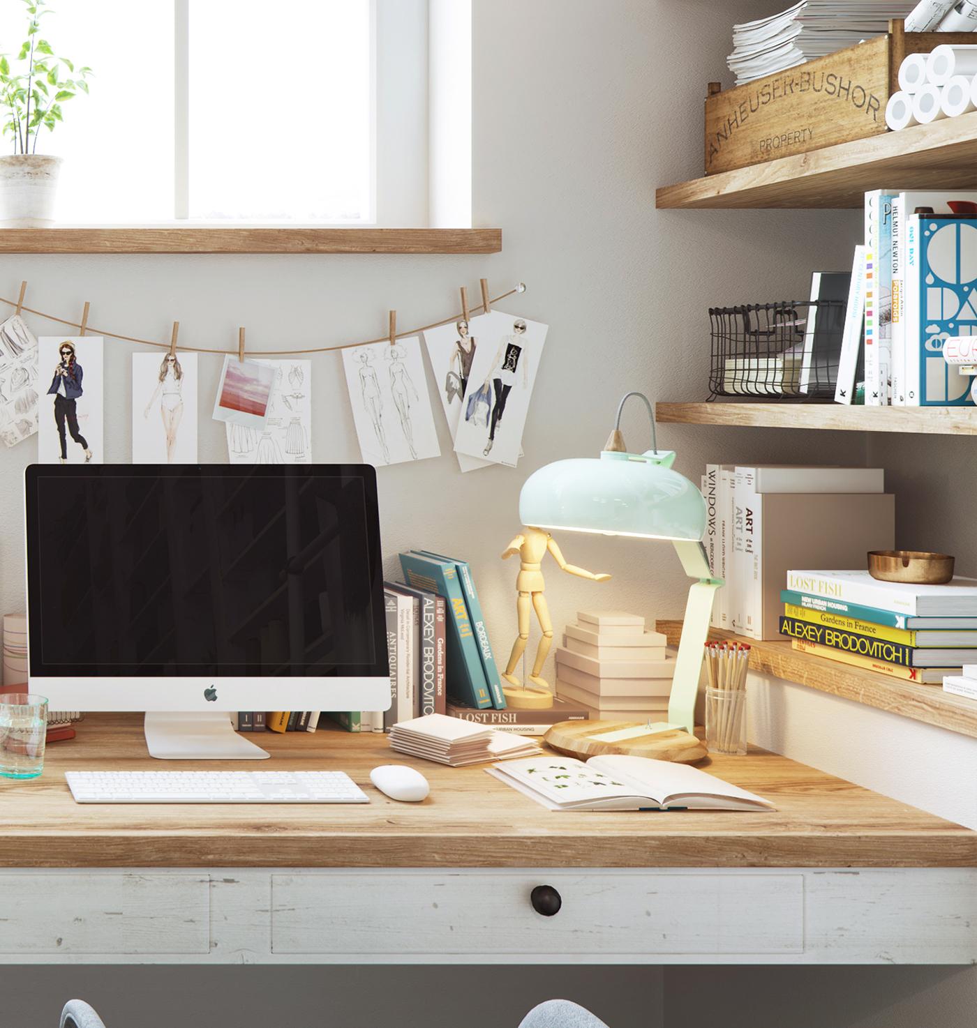 como hacer un escritorio, escritorio, apple, colgador, perchero, interiorismo, barcelona, alquimia deco, estilo nordico, taller de costura, blanco,