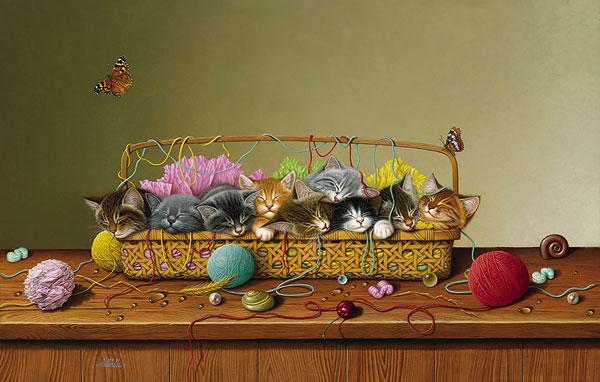 котята в корзинке с вязанием (картина)