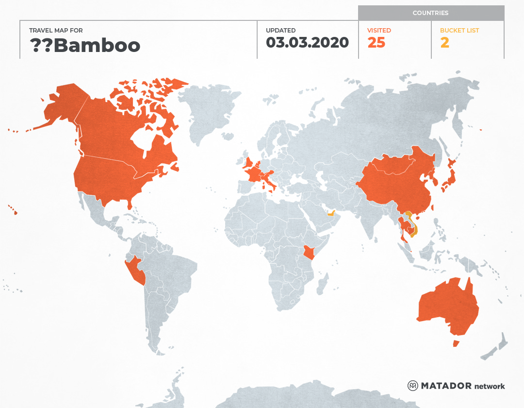 Bamboo's travel map 遊歷地圖