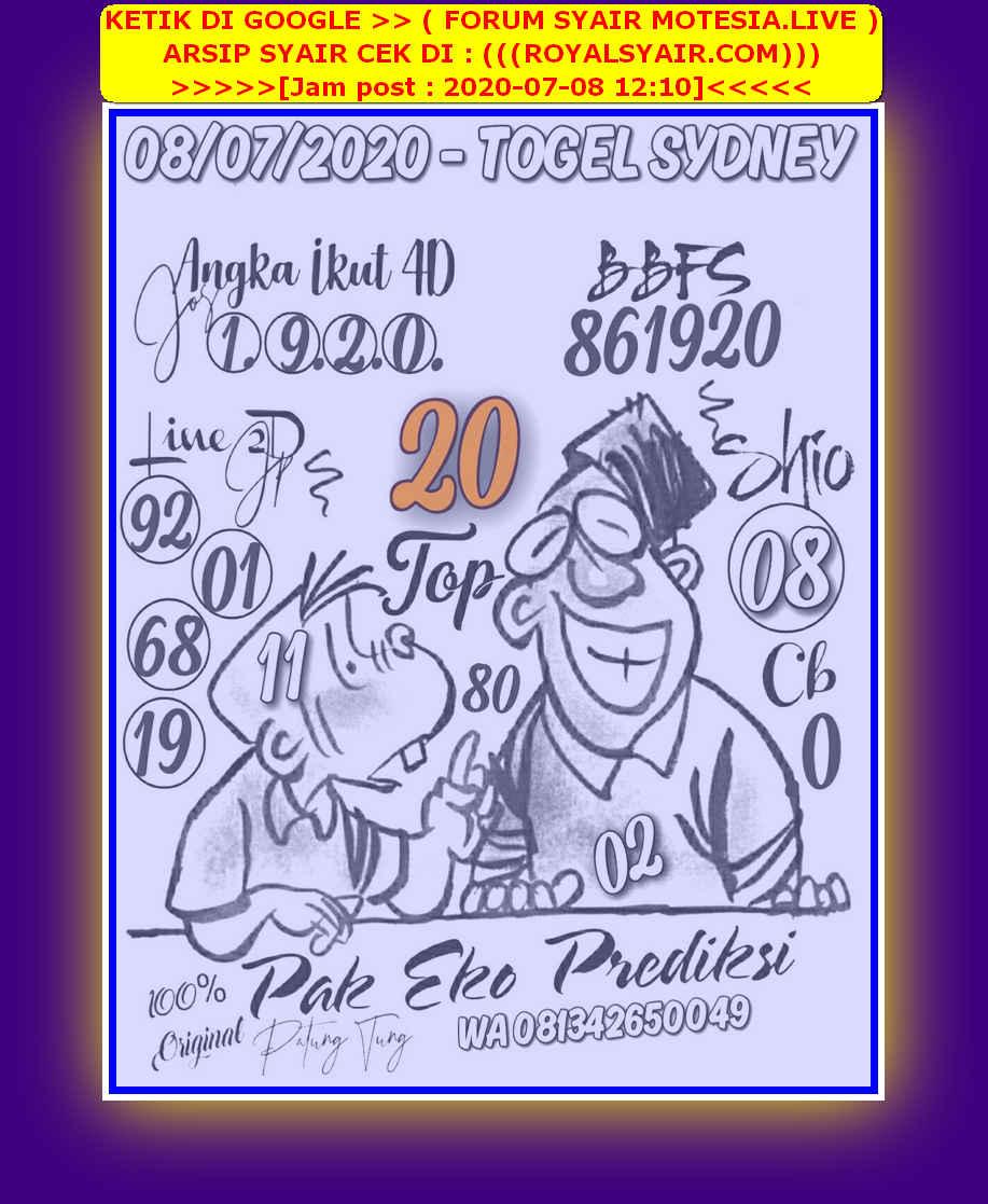 Kode syair Sydney Rabu 8 Juli 2020 11