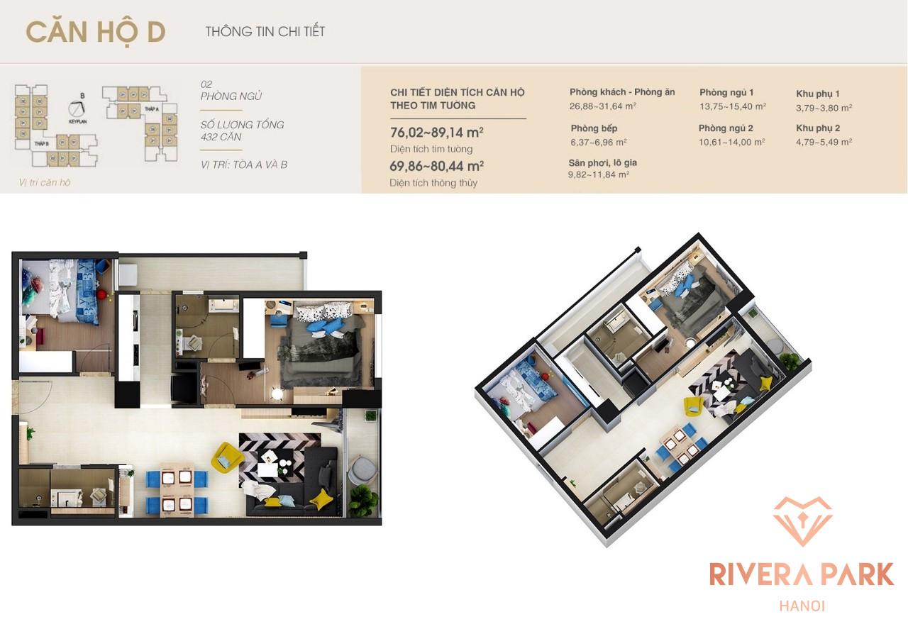 Thiết kế căn hộ Rivera Park Hà Nội Loại D Tòa A và B