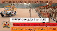 Karnataka State Police Recruitment 2018– 164 Police Sub Inspector
