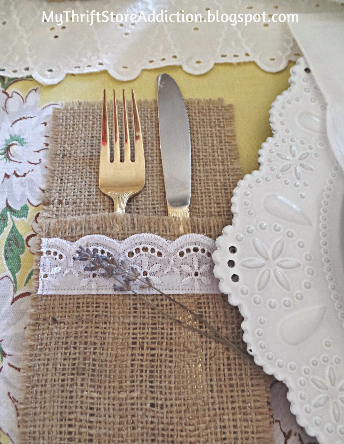 Burlap and lace flatware pocket