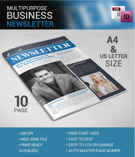 90+ Best Printable Newsletter Templates InDesign INDD & PDF ...