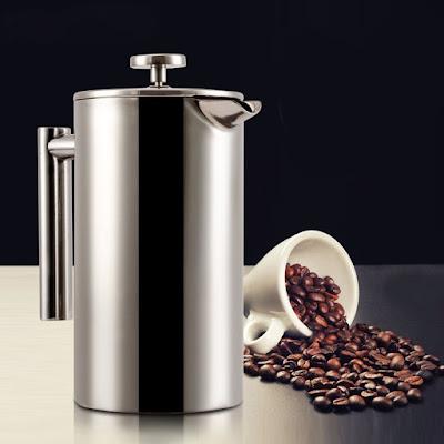 Mohoo 350 ml cafetera émbolo cafetera tetera de acero inoxidable doble francés Holding perforadora de mano prensa francesa olla cafetera Pot