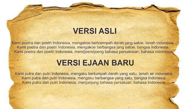 Isi Teks Sumpah Pemuda (Asli dan EJaan Baru) Serta Makna Yang Terkandung Didalamnya