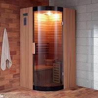 Banyoya kurulmuş ev tipi küçük köşe sauna modeli