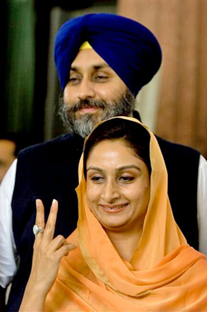 Sukhbir Singh Badal  Former Deputy Chief Minister of  Punjab With His Wife Harsimrat Kaur Badal  Photo Pics Image Wallpaper