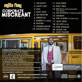 Oritse Femi corporate miscreant album tracklist