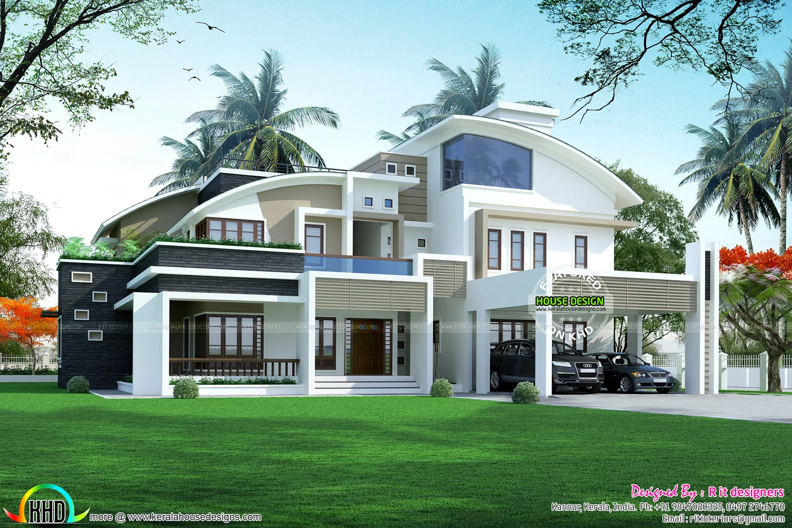 5 bhk contemporary style curved roof kerala home design for Modern kerala style house plans with photos