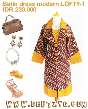 Terusan Batik Lengan Panjang Dengan Model Kerah Blazer Batik Cantik