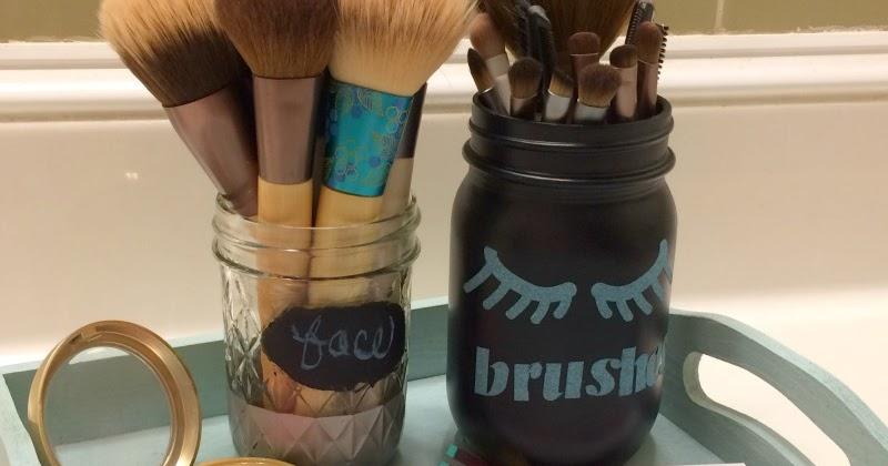 Real Girl S Realm Glittery Mason Jar Makeup Brush Holder