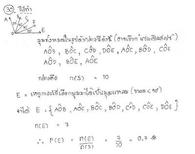 เฉลยคณิตโอเน็ต ม.3 2559 ตอนที่ 2 ข้อ 30