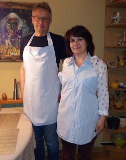 komplet fartuchów kuchenny z jednej koszuli