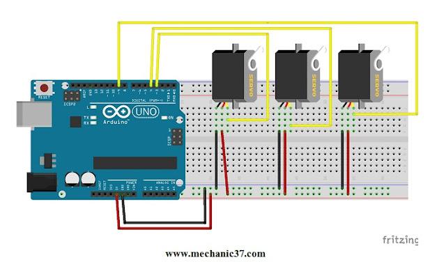 यह Arduino और servo motors का circuit है
