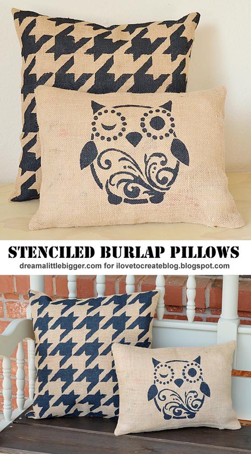 Diy Outdoor Stenciled Burlap Pillows Ilovetocreate