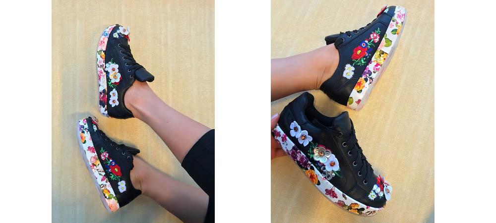 Adidasi dama negri cu flori colorate si model cu flori 2017