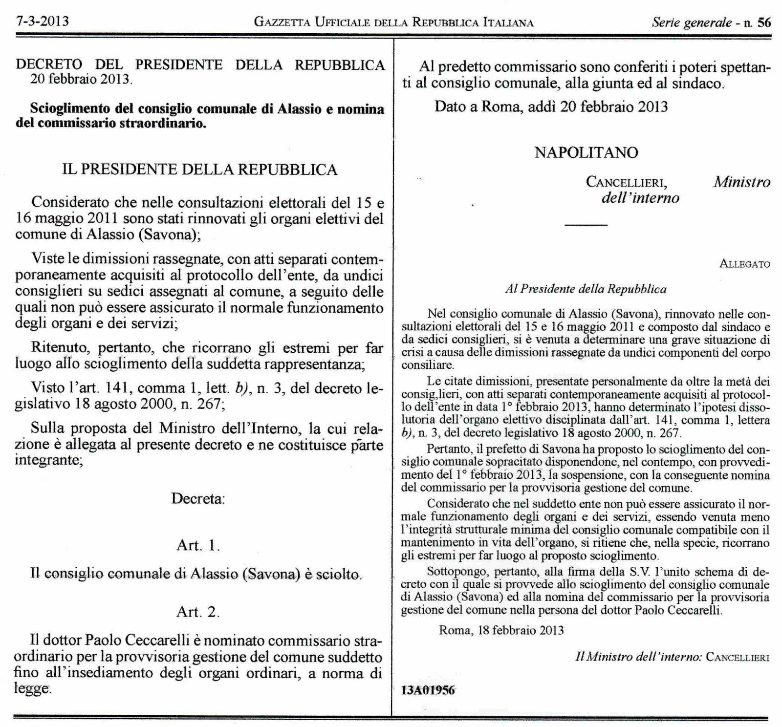 Alassio 2011 decreto del presidente della repubblica 20 for Decreto presidente della repubblica