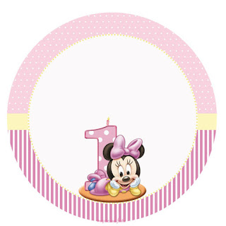 Minnie First Year in Pink: Free Printable Cupcake Wrappers and Toppers.