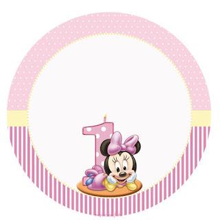 Minnie Primer Año: Wrappers y Toppers para Cupcakes para Imprimir Gratis.