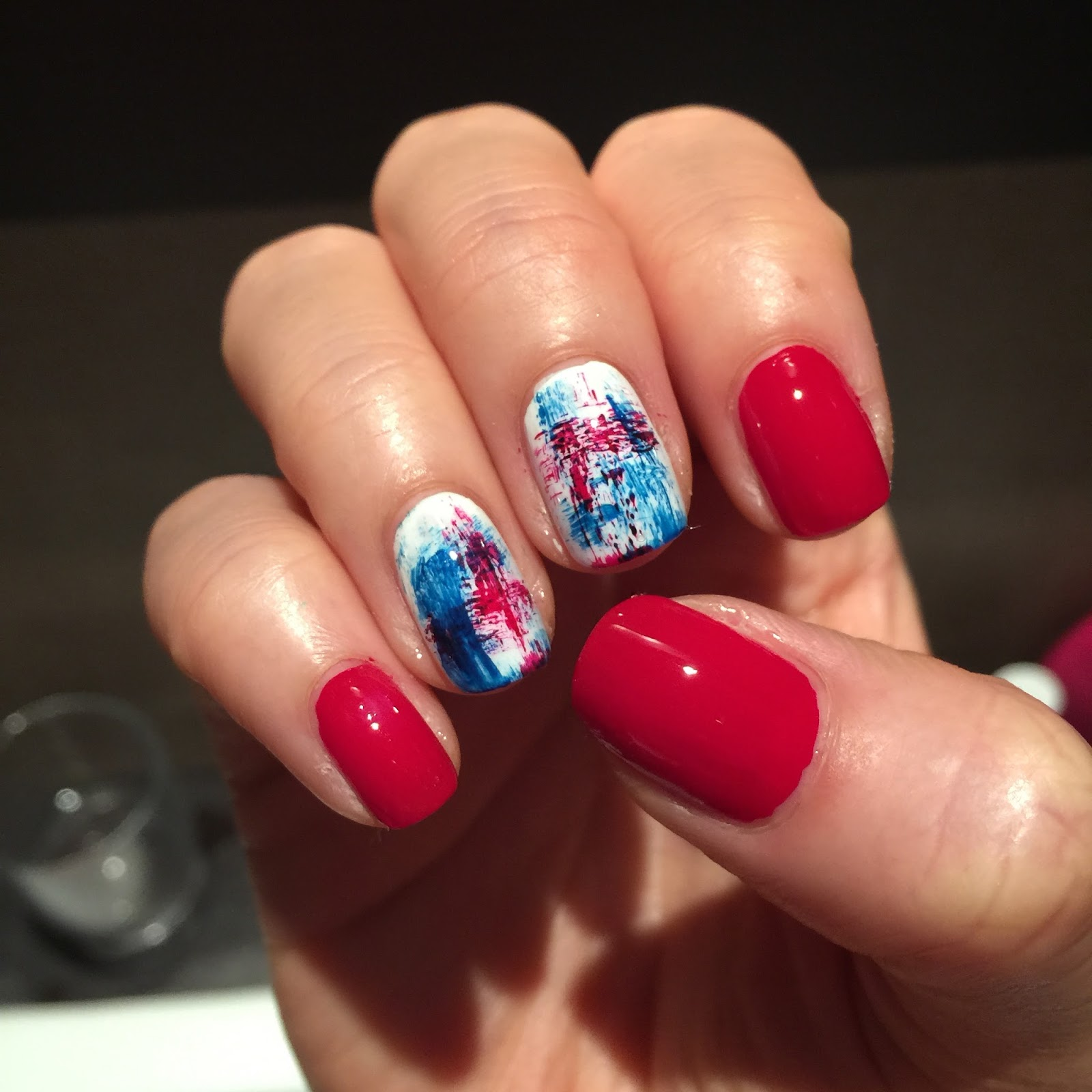 Miss Ruby Nails Red White Blue Dry Brushing