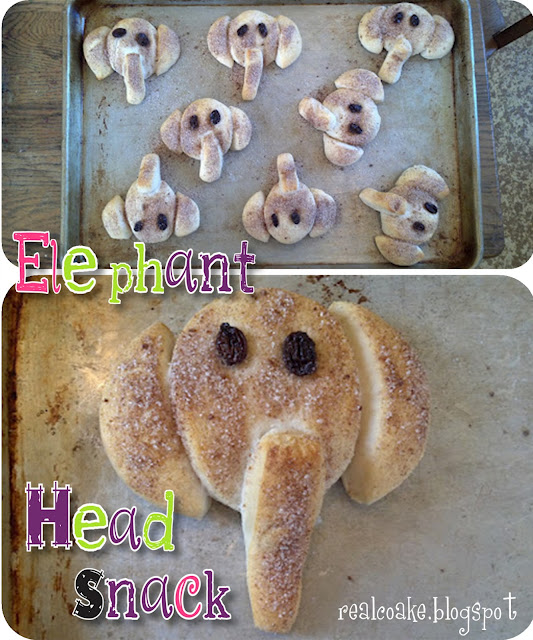 biscuits made into an elephant shaped snack