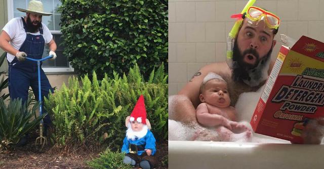 Pai faz sessão fotográfica incrível com a sua filha recém-nascida e torna-se viral