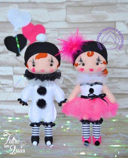 Molde Pierrot e Colombina em Feltro