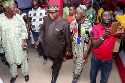 Tunde Kelani, Oga Bello, Chief Olusegun Obasanjo, Spiff at the official opening of OOPL cinema in Abeokuta Ogun State