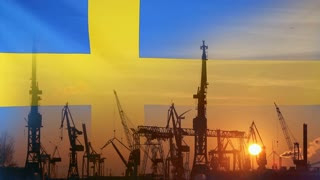 composed image of Swedish flag and industrial crane profiles