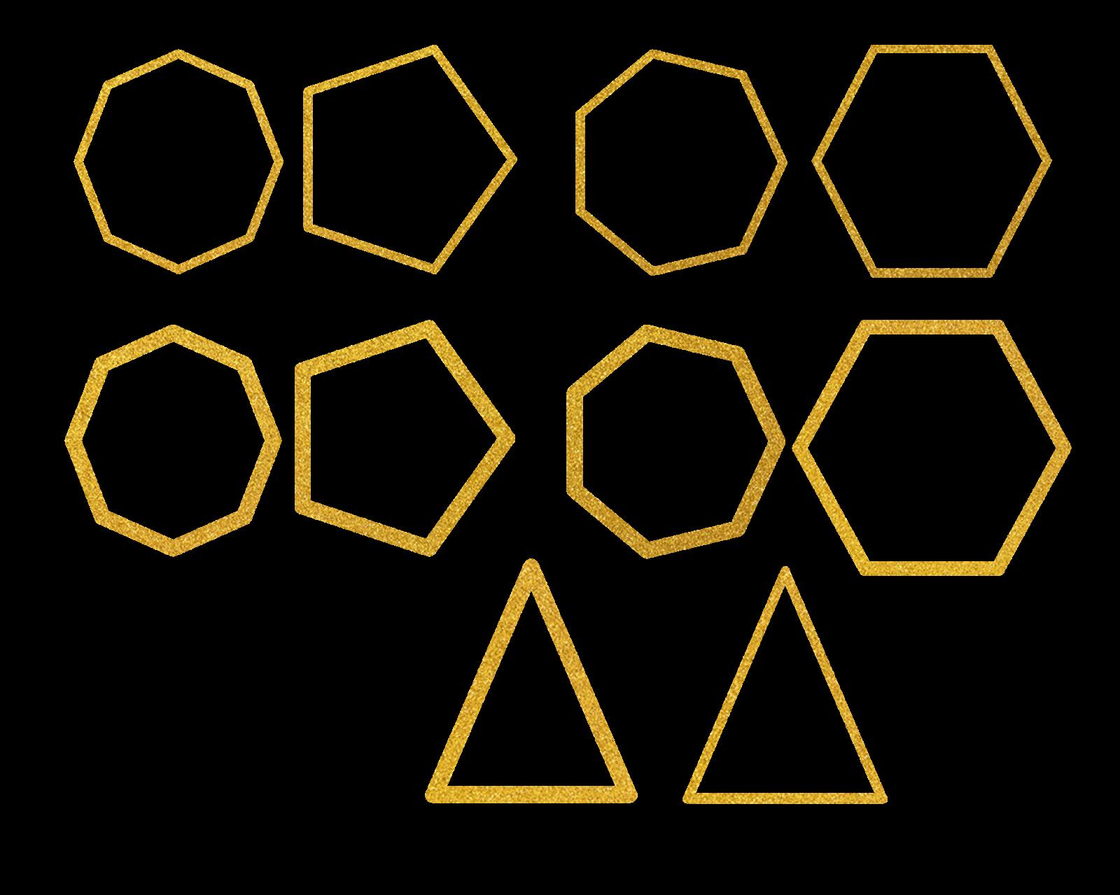 اشكال هندسية ذهبي Png فوتوشوب شو