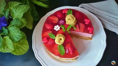 Tarta mousse con rosas